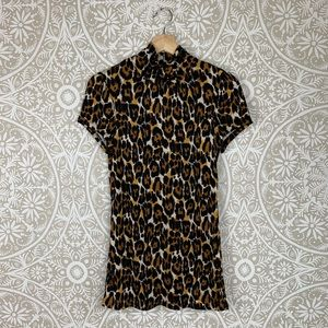 Trina Turk Short Sleeve Leopard Silk Top